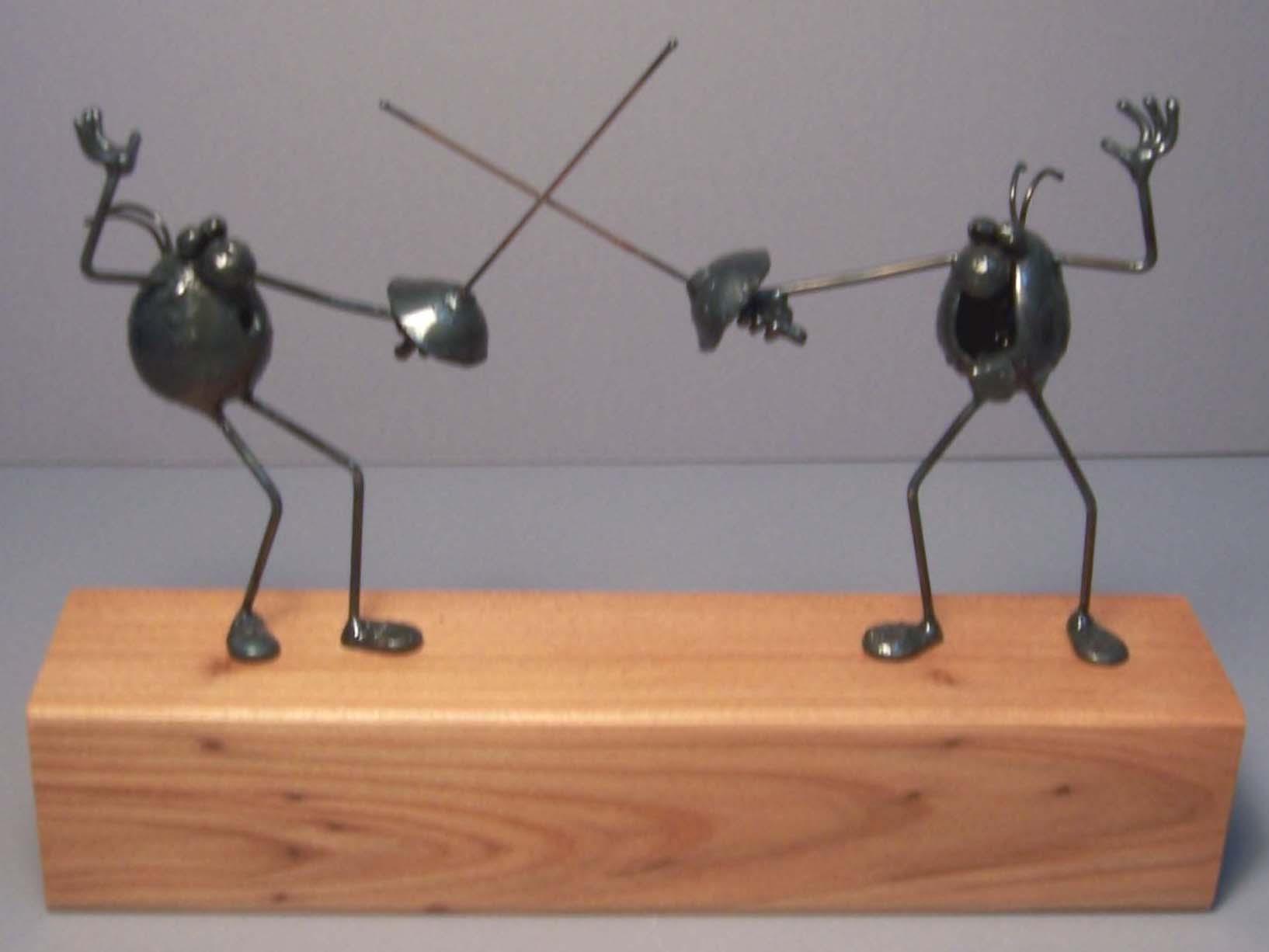 Fencing scene, 2 flea