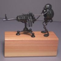 Soldier, with machine gun